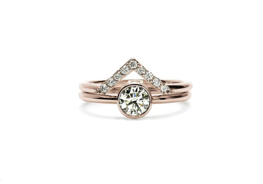 duo bagues moissanite or rose le nid d amour