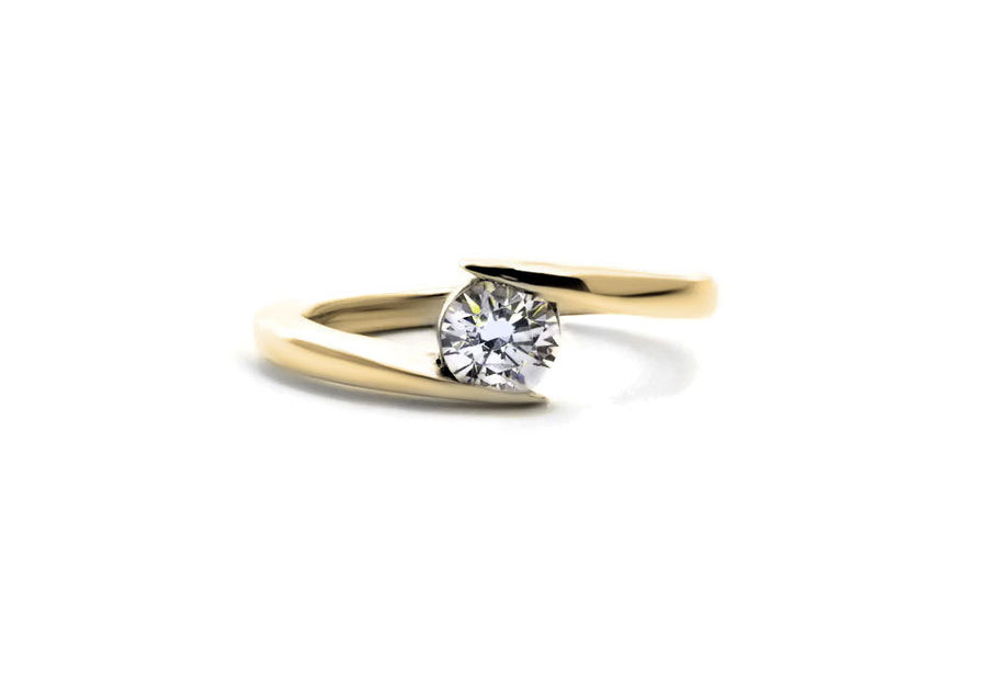 bague fiançailles moissanite or jaune hello you 50