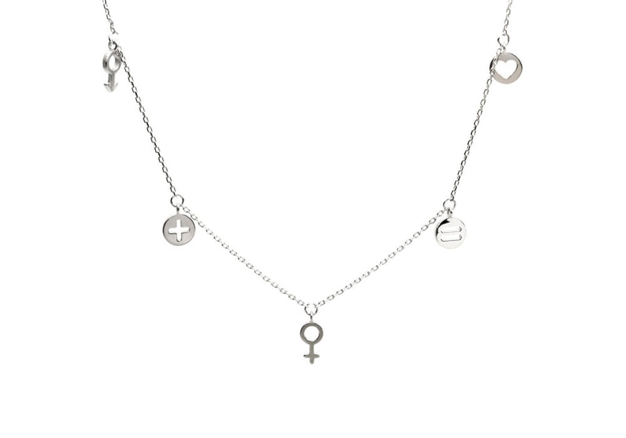family necklace with sterling silver charms