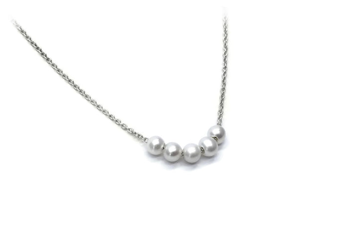 necklace of 5 sterling silver beads 5 snowballs