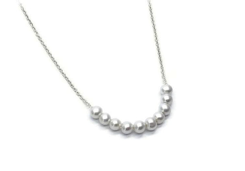 necklace of 10 pearls white gold chain 10 snowballs
