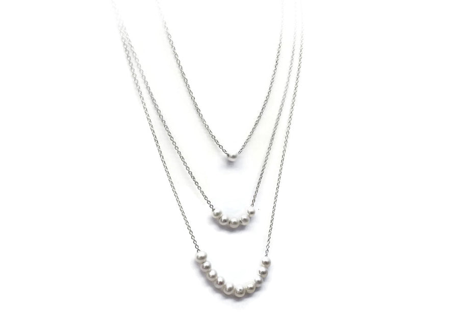 3 beads necklaces sterling silver chain snowball beads