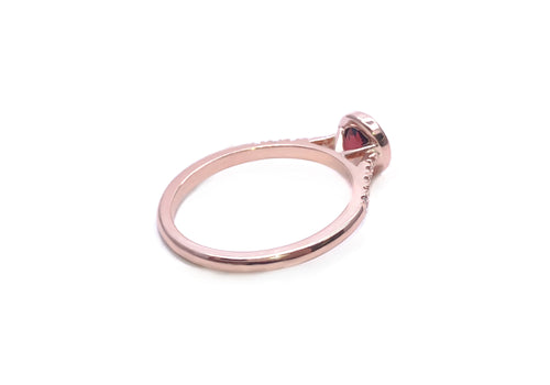 bague or rose grenat diamant de laboratoire douce folie haut