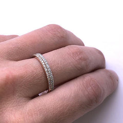 bague 27 diamants de laboratoire or blanc main