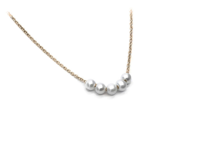 necklace of 5 pearls yellow gold chain 5 snowballs