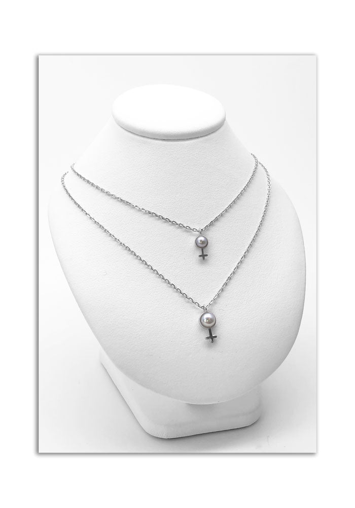 duo girl charms with pearls and sterling chain