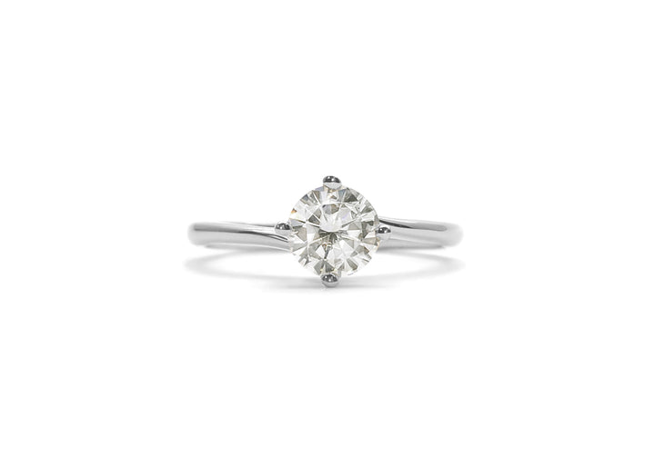 moissanite ring 50 points white gold embracing me