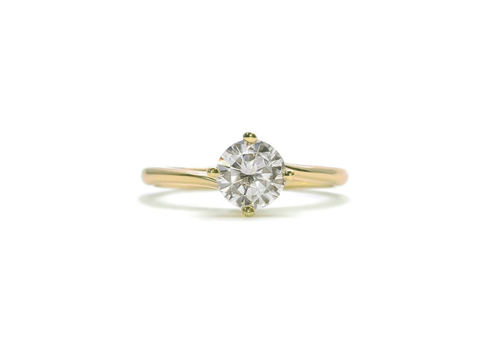 bague moissanite 50 points or jaune enlace moi
