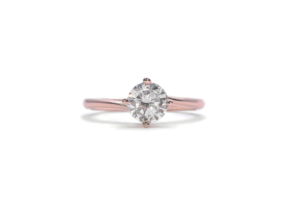 bague diamants 50 points or rose enlace moi
