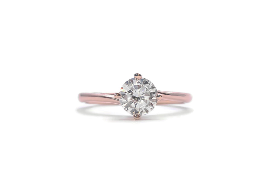 bague moissanite 50 points or rose enlace moi