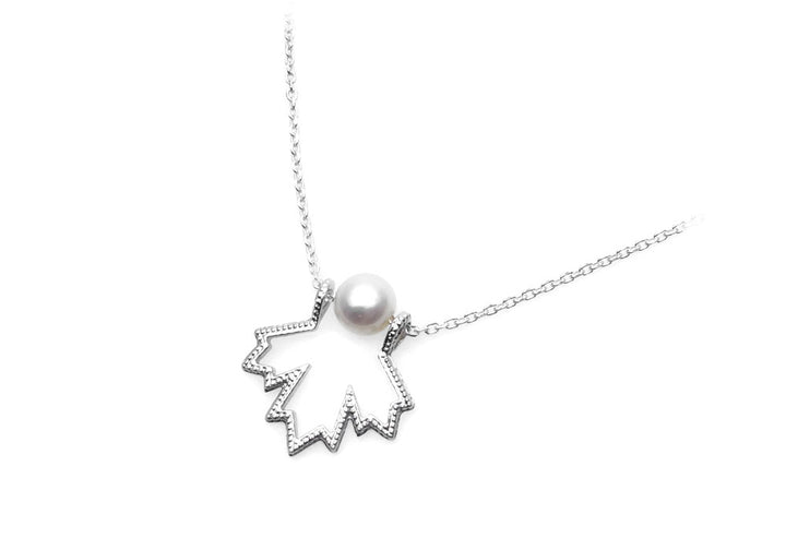 necklace pearl necklace maple leaf white gold miligrain chic Canada