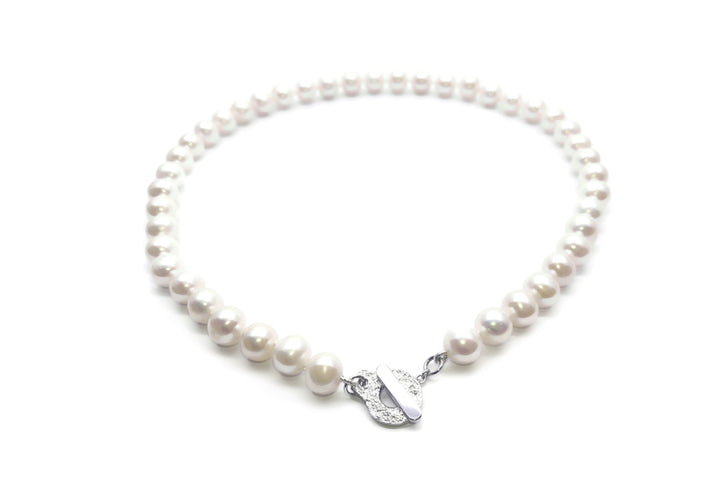 pearl necklace sterling silver clasp Timeless at the neck