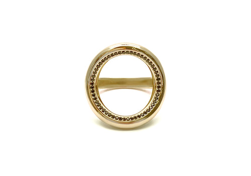 ring 56 spinels yellow gold face good karma