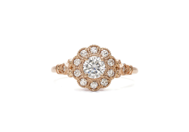 engagement ring laboratory diamonds pink gold The apogee
