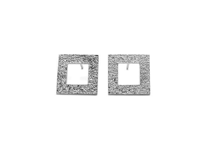 square earrings sterling silver L'heureuse traversée