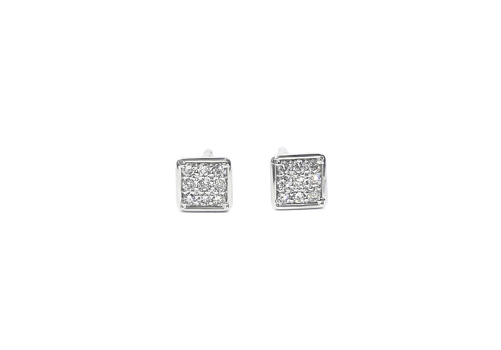earrings white gold and diamonds square passe partout pavé
