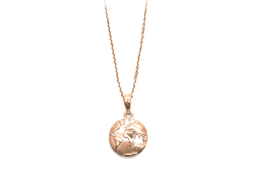 Pendant planet earth in pink gold 22 April
