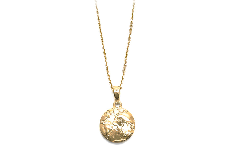 Pendant planet earth in yellow gold 22 April