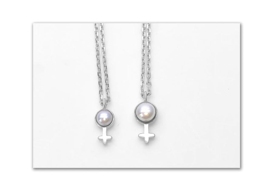 duo charms little and big girl with pearl and sterling chain