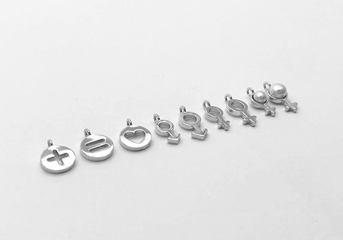 set of 9 sterling silver charms family necklace