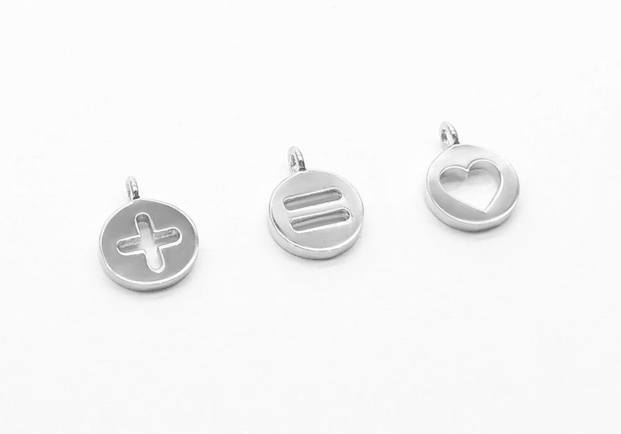 trio plus equal charms and sterling silver heart