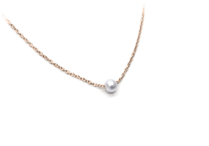 necklace 1 pearl yellow gold chain snowball