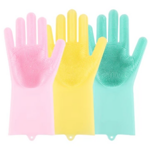 SUPER SILICONE SCRUBBER RUBBER CLEANING GLOVES FOOD GRADE DISH WASHING, MAGIC GLOVE FOR KITCHEN BATHROOM PET CARE GROOMING HAIR