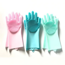 Load image into Gallery viewer, SUPER SILICONE SCRUBBER RUBBER CLEANING GLOVES FOOD GRADE DISH WASHING, MAGIC GLOVE FOR KITCHEN BATHROOM PET CARE GROOMING HAIR