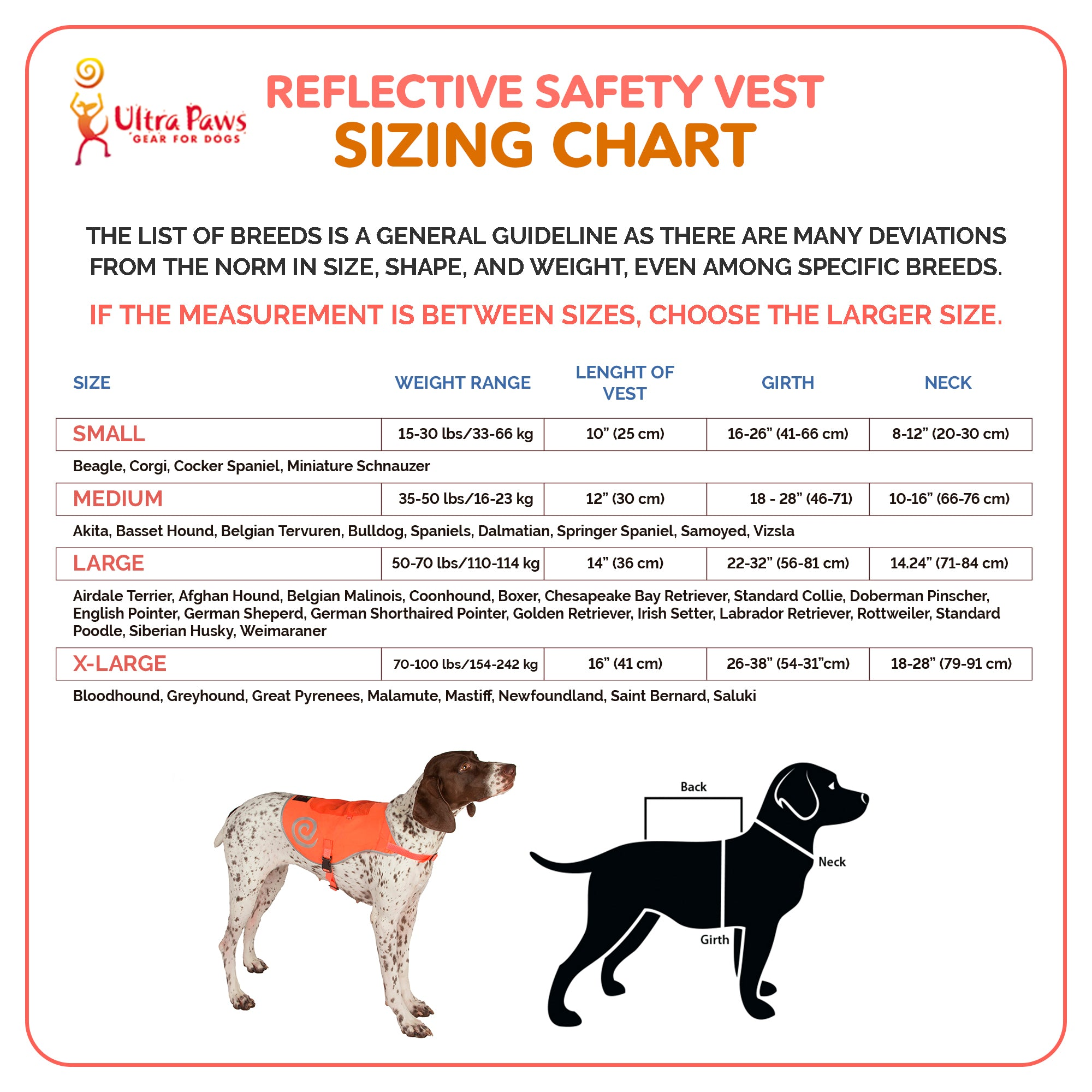 Ultra Paws Reflective Safety Vest Sizing Chart