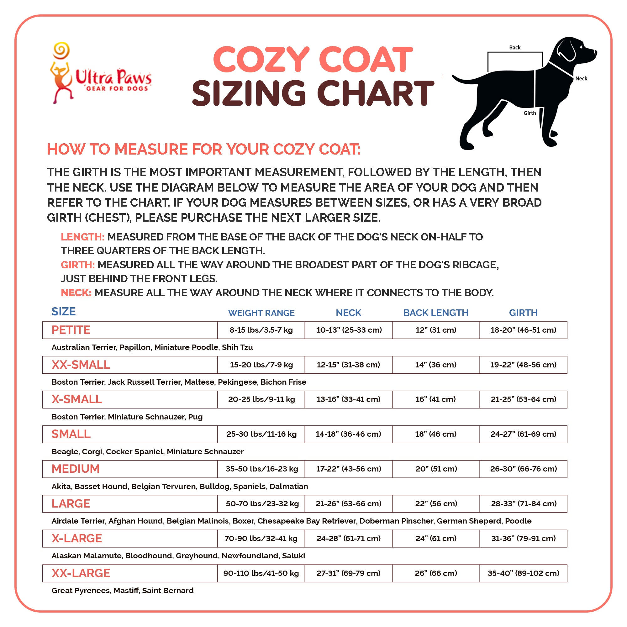 Ultra Paws Cozy Coat in Comfy Red Plaid Sizing Chart