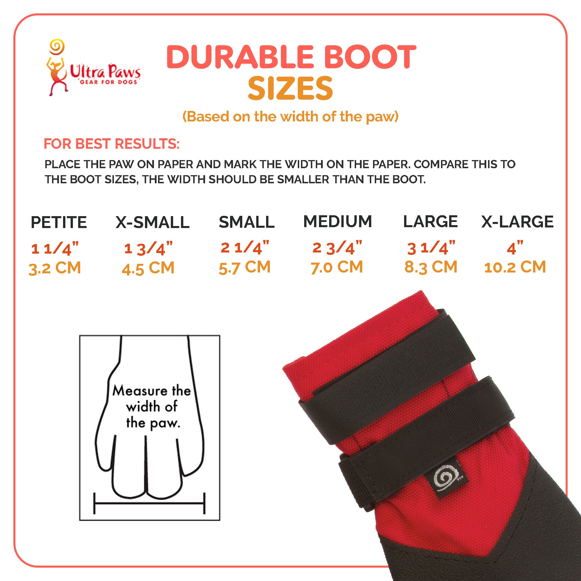 Ultra Paws Durable Dog Boots Sizing Chart