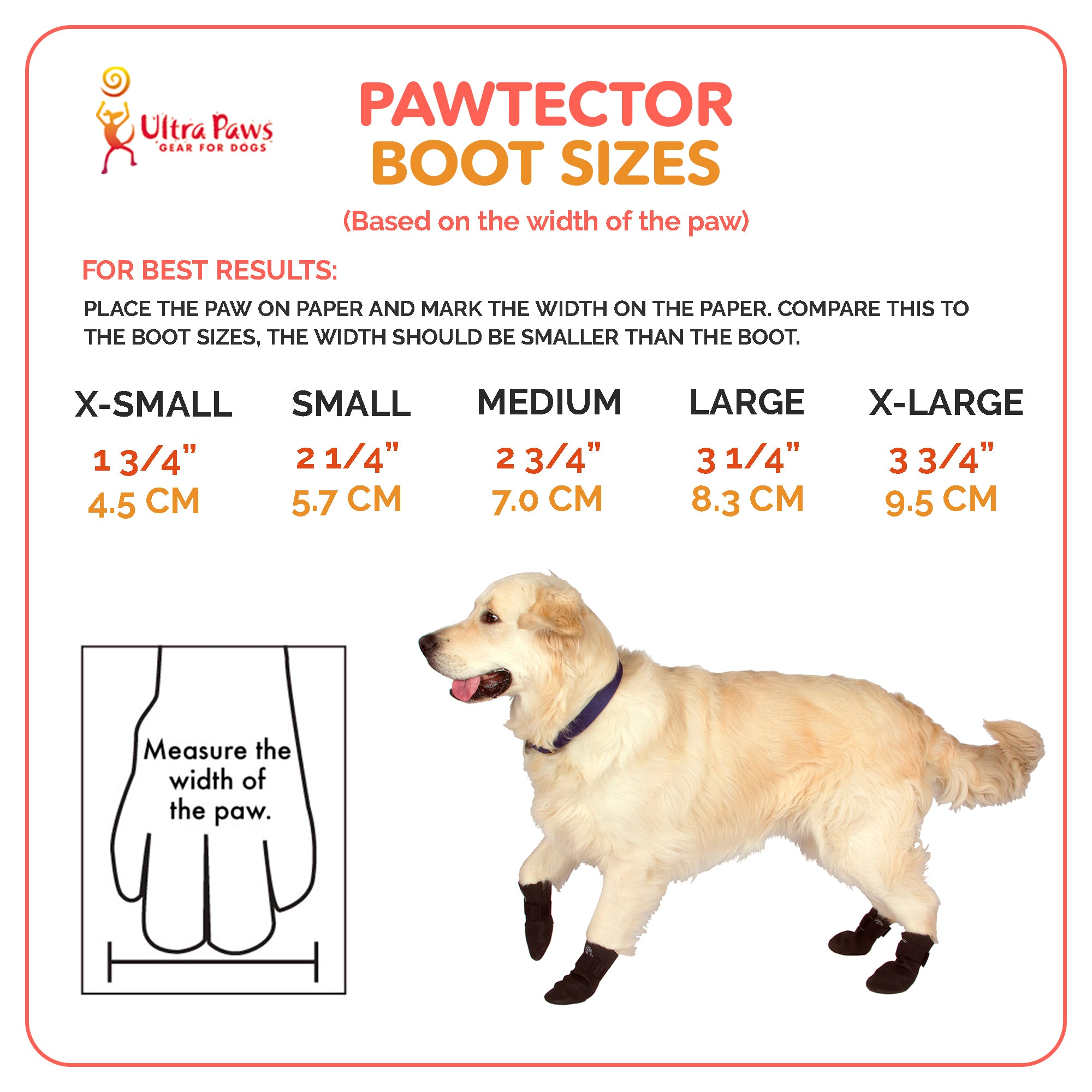 Ultra Paws PAWTECTORS® Waterproof Dog Boots Sizing Chart
