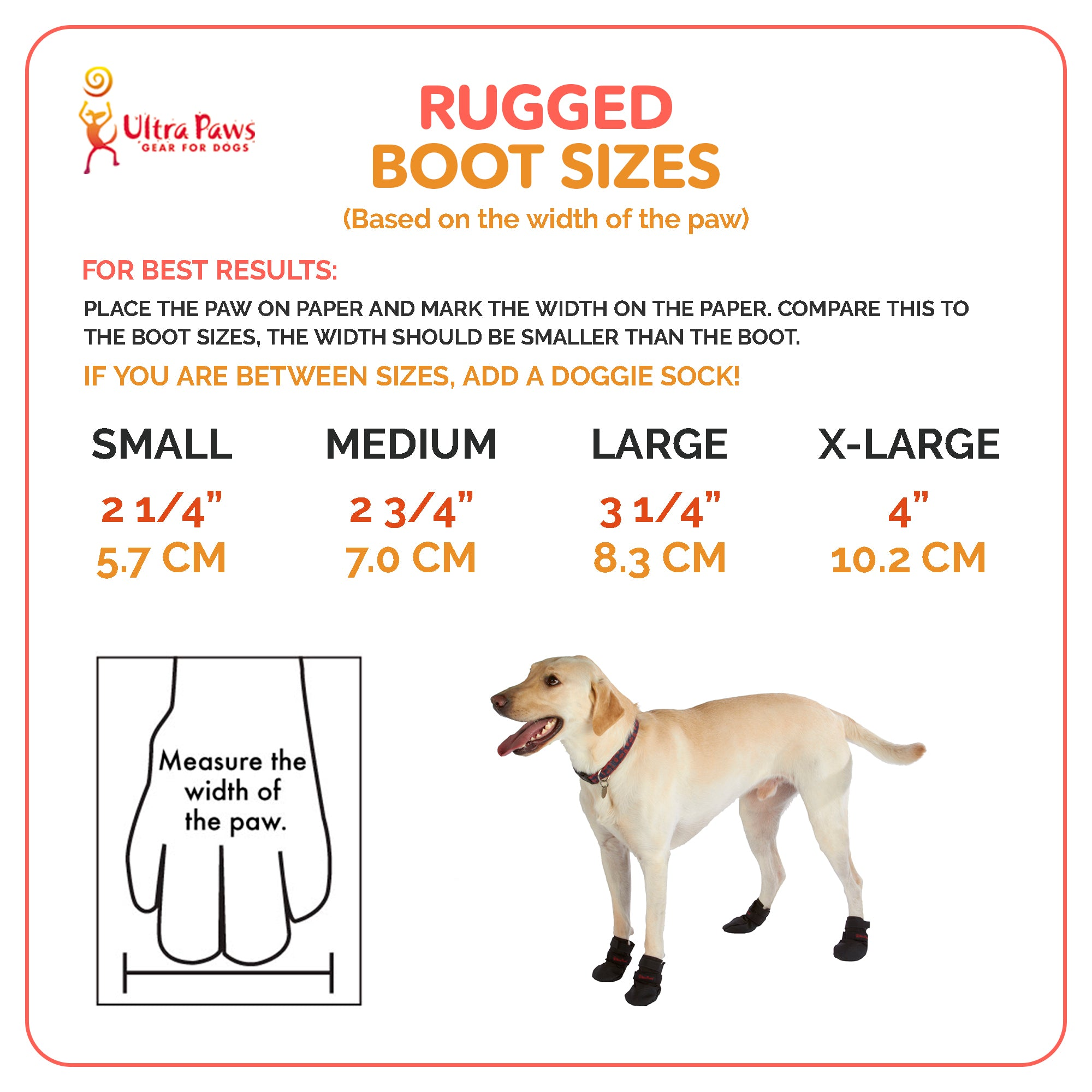 Ultra Paws Rugged Dog Boots Sizing Chart
