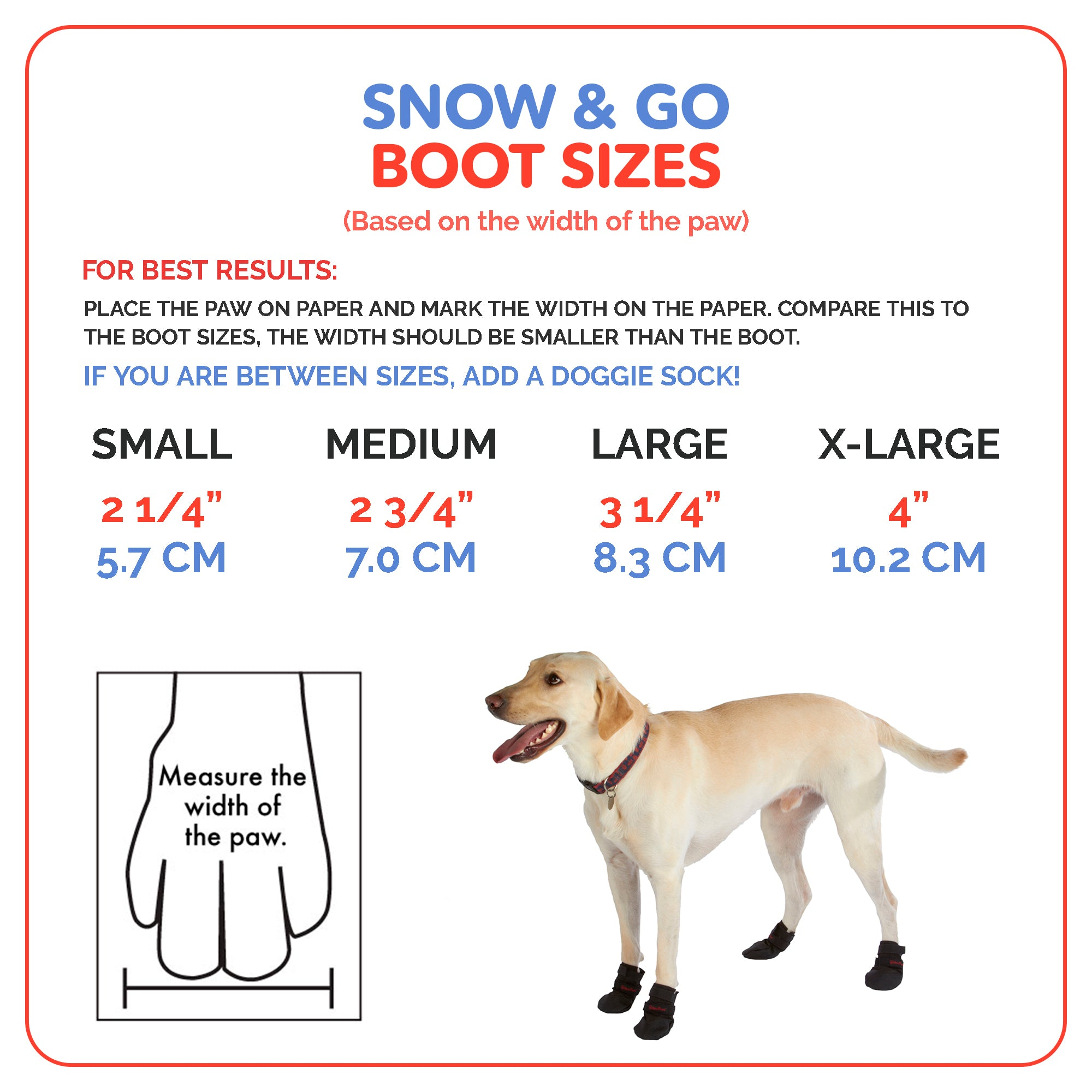 Ultra Paws Snow & Go Dog Boots Sizing Chart