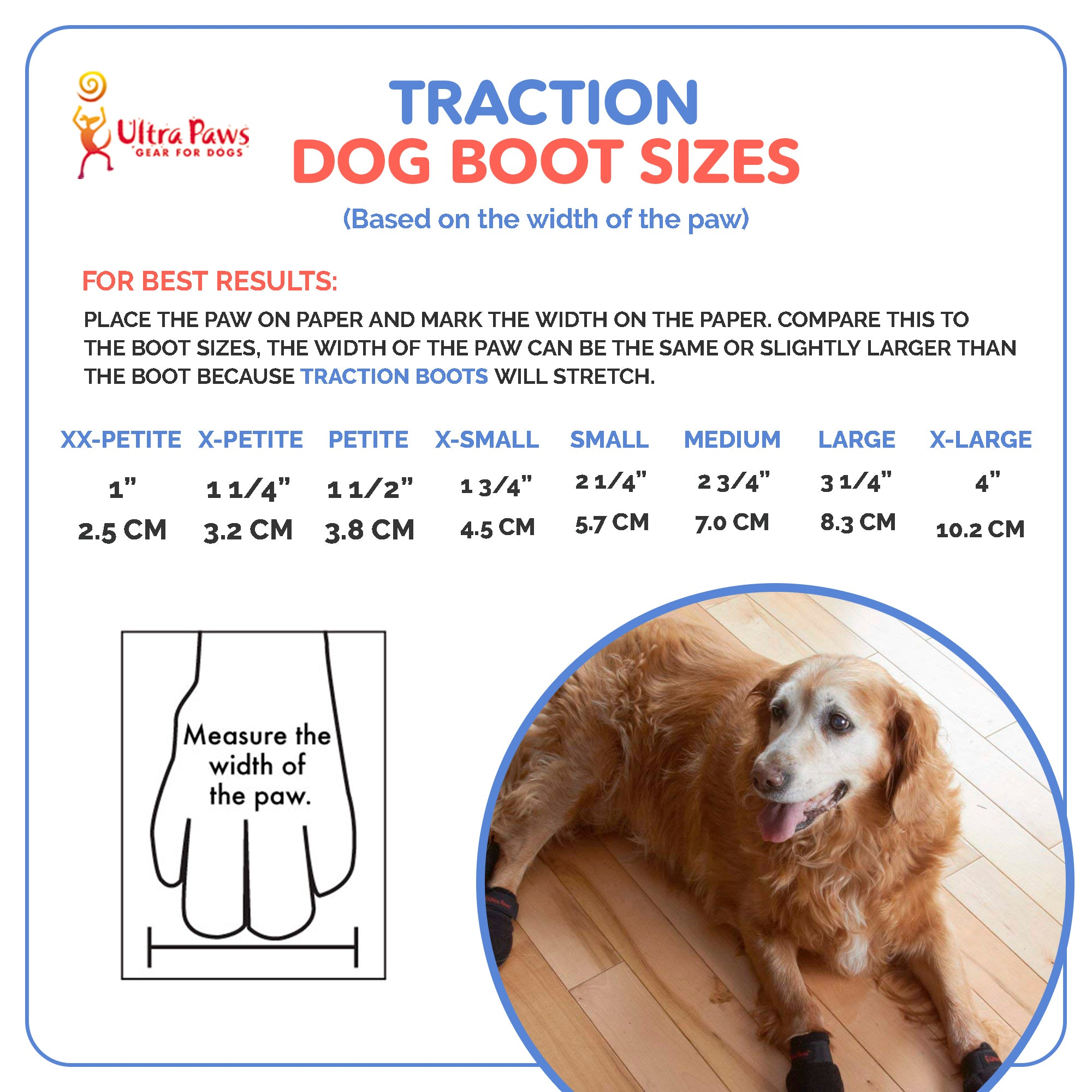 Ultra Paws Traction Dog Boots Sizing Chart