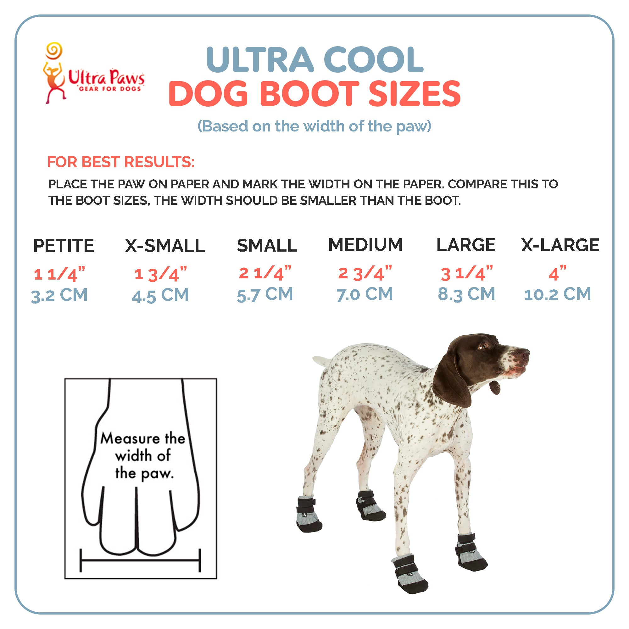 Ultra Paws Ultra Cool Dog Boots Sizing Chart