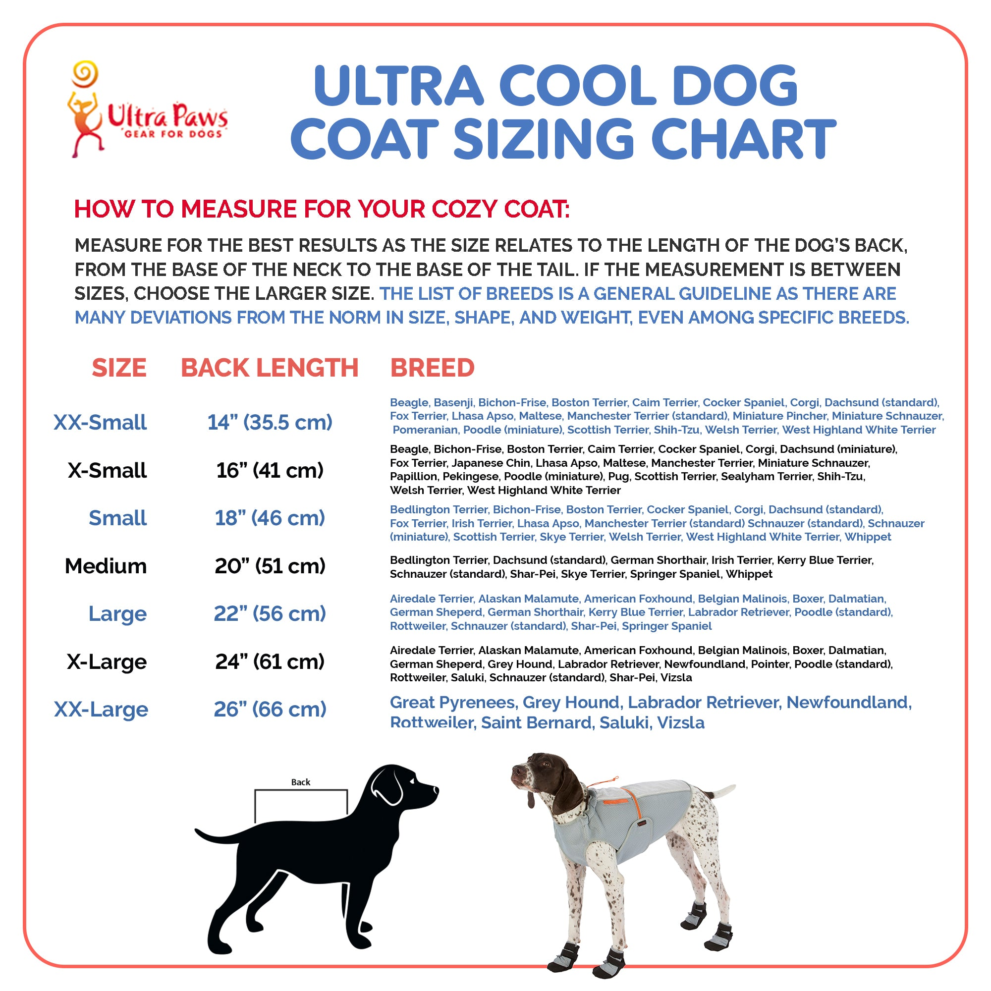 Ultra Paws Ultra Cool Coat Sizing Chart