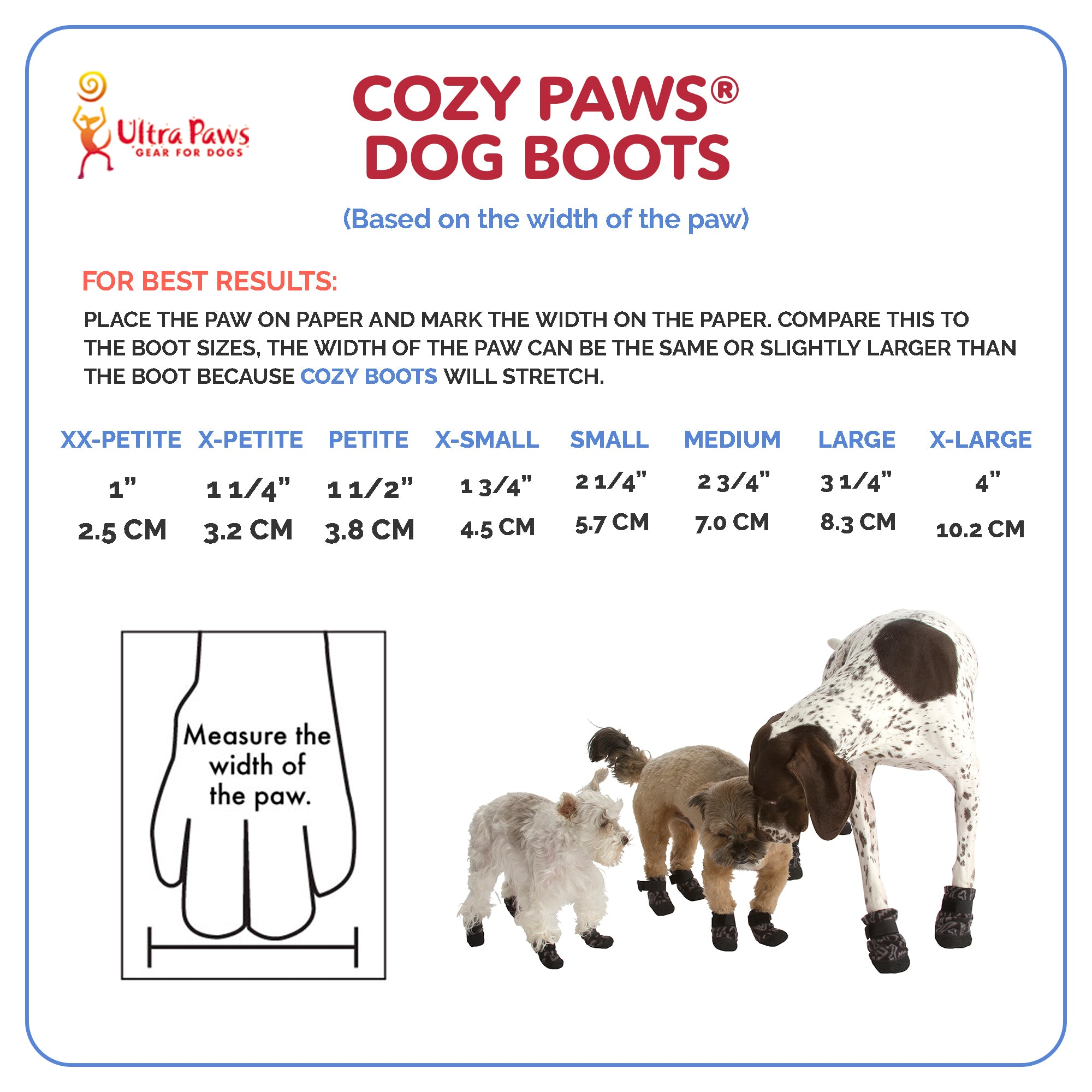 Ultra Paws Cozy Paws® Dog Boot Sizing Chart