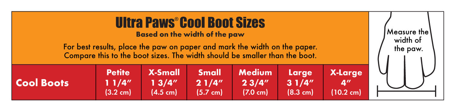 Ultra Paws Cool Blue Dog Boots Sizing Chart