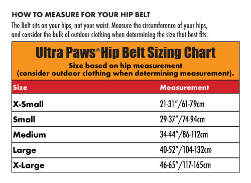 Ultra Paws Skijor Hip Belt Sizing Chart