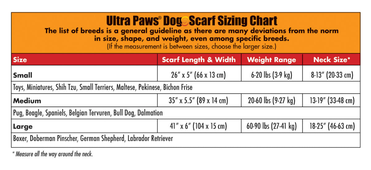 Ultra Paws Ultra Dog Scarf Sizing Chart