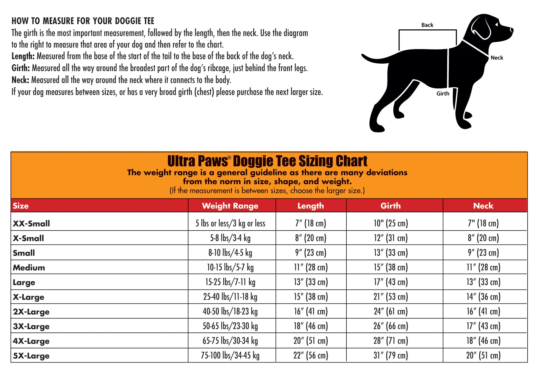Ultra Paws Reflective Doggie Tees Sizing Chart
