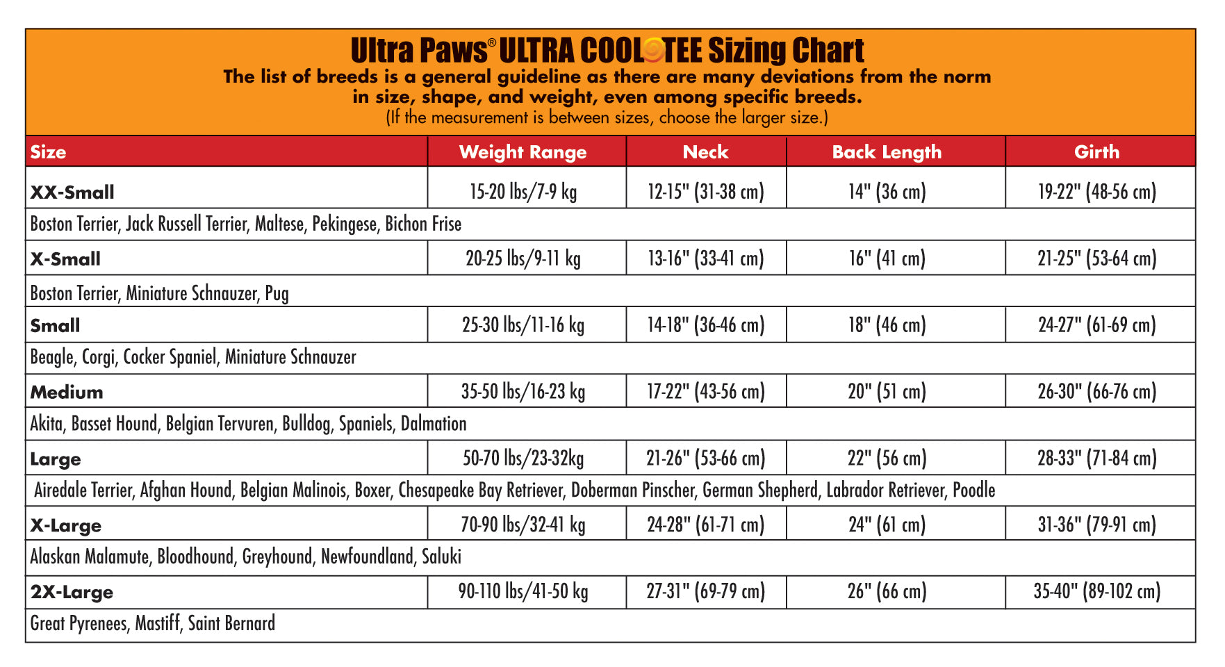Ultra Paws Ultra Cool Tee Sizing Chart