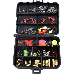 Rock 135 Accessories 128Pcs 135 Kit Hard Soft Bait Lure Fishhooks Tools Tackle Box Set for Saltwater & Freshwater 135 - Phishing The World