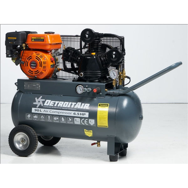 DETROIT PETROL ENGINE AIR COMPRESSOR 4HP 90L 10BAR 300LPM/10.6CFM - PULL START - Power Tool Traders