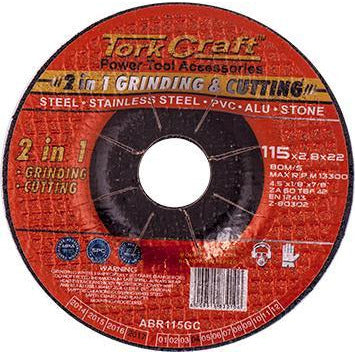 2 IN 1 GRINDING & CUTTING DISC 115MM X 2.8 X 0.22 STEEL/SS/PVA/ALU/STO - Power Tool Traders