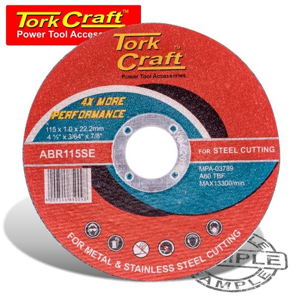 CUTTING DISC STEEL  & SS 115 x 1.0 x 22.2 MM 4X MORE PERFORMANCE - Power Tool Traders
