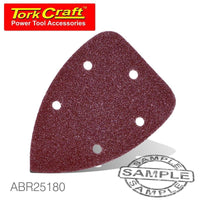 SANDING TRIANGLE VEL SHEET 180 GRIT 140 X 140 X 98MM 5/PACK WITH HOLES - Power Tool Traders
