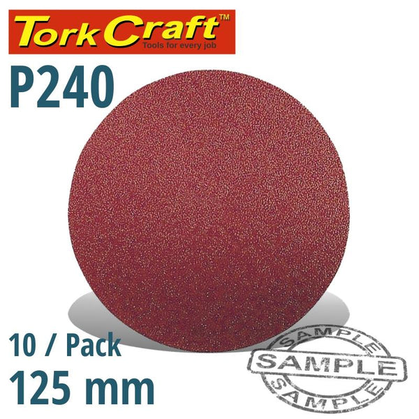 SANDING DISC VELCRO 125MM NO HOLE 240 GRIT 10/PACK - Power Tool Traders