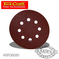 SANDING DISC VELCRO 150MM 80 GRIT WITH HOLES 10/PK - Power Tool Traders